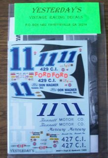 yesterdays 1969 mario andrettii a j foyt 11 mercury ford decal 1 24 1