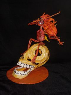 Folk Art Day of the Dead Paper Mache Fiddling Devil Mario Saulo Moreno