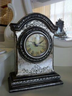 Silver Mantal Clock Vintage French Style Antique Look