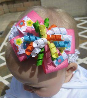 Polka Dot Flowers Layered Korker Hair Bow Headband or Clip