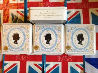 QUEENS DIAMOND JUBILEE MARKS AND SPENCER SOUVENIR BISCUIT TIN IN M S