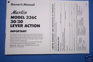 Marlin 30 30 Model 336C Lever Action Owners Manual