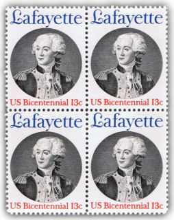 Marquis de Lafayette on U s Postage Stamps from 1977