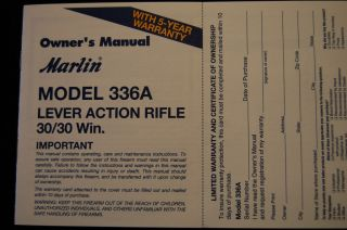 Marlin Model 336A Lever Action Rifle 30 30 Win Owners Manual 6 01