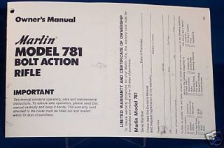 Marlin Model 781 Bolt Action Rifle Cal 22 Manual
