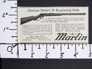 1931 Marlin Firearms 22 Caliber Model 39 Lever Action Rifle Magazine