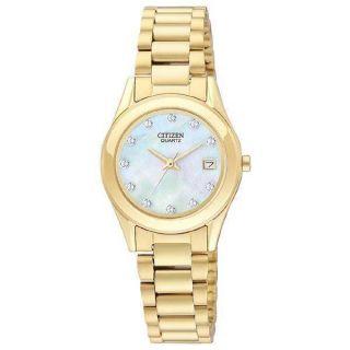 Citizen Gold Tone Womens Quartz Watch EU2662 54D Mother of Peral Dial