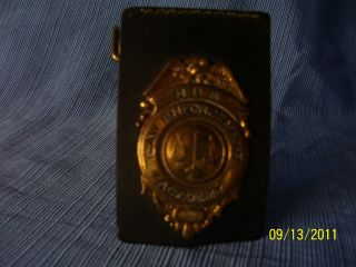 Badge Obsolete NBS Law Enforcement Academy Clip on Leather