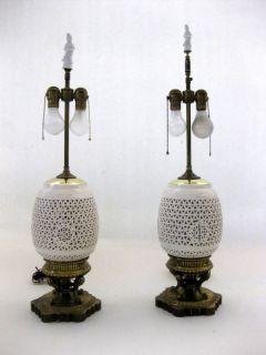 Chinoiserie Pair Blanc de Chine Hollywood Regency Lamp
