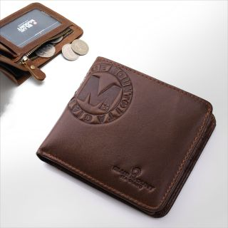 NEW COWHIDE Genuine LEATHER BIFOLD MENS Brown Vintage WALLET ZIPPERED