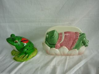 Vintage Otagiri Mary Ann Baker Frog Napking Holder Coin Bank Piggy
