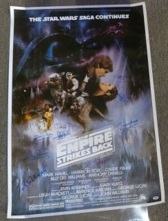 Harrison Ford Mark Hamill Signed Star Wars Empire Strikes Back Poster