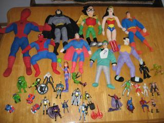 DC Marvel Action Figure Plush Lot Spiderman Doll Joker Riddler Black