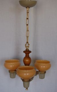 Markel Art Deco Chandelier Custard Cup Shades 3 Light