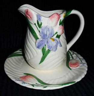 BEAUTIFUL MARY ANN BAKER PITCHER AND PLATE OTAGIRI JAPAN HAND PAINTED