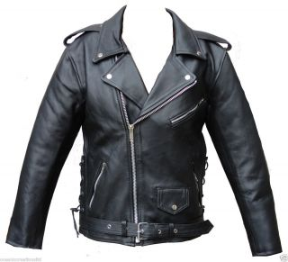Black Motorcycle Marlon Brando Cruiser Leather Jacket