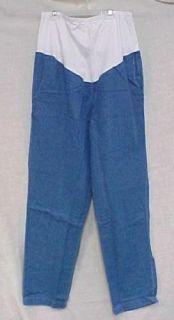 Maternity Scrub Pants Blue Denim Stretch Panel M