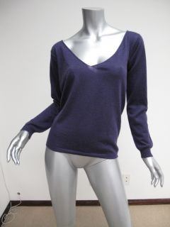 Marni Purple V Neck Lightweight Long Sleeve Cashmere Sweater Top 42