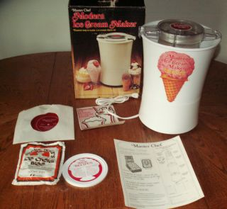Vintage Master Chef Modern Ice Cream Maker Record Ice Cream Tips by