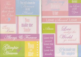 Keepsake True Love Wedding Marriage Phrases Stickers
