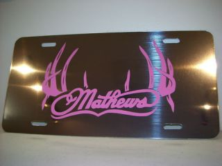 Mathews Bow Archery Pink Chrome Metal License Plate