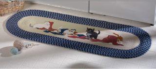 Kittens Cat Laundry Room Decor Blue Border Braided Runner Rug Door Mat