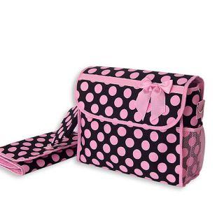 Black Pink Large Polka Dot Flap Over Diaper Bag Set