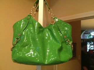 GIANNI BINI HANDBAG patent leather green croc print SUPER CUTE Mint