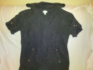 MAURICES Plus Size Dark Grey Hoodie Style Short Sleeve Cardigan