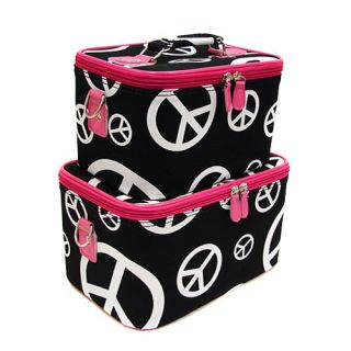 Black Peace Signs Pink 2pc Makeup Train Case Luggage