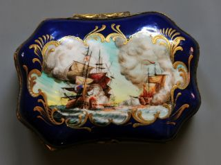 English Porcelain Snuff Box Circa 18th Century Signed F Marton