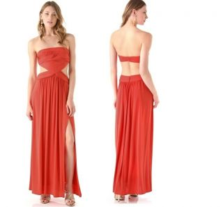 BCBG Max Azria Baile Cutout Detail Strapless Evening Gown Jersey Maxi
