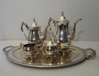 Oneida Silver Du Maurier Coffee Tea Service 5pc Set 2 Pots Sugar