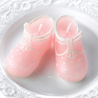 Pair of Pink Baby Shower Bootie Candles Party Favor