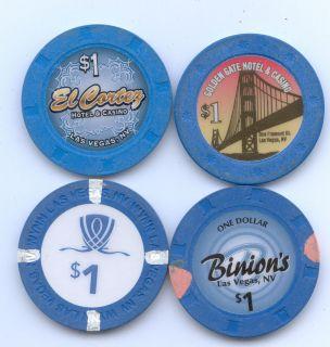 Different 1 Las Vegas Casino Chips Binions Wynn El Cortez Golden Gate