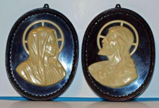 Vintage Plaques Brown White Hard Plastic Raised Images of Mary Jesus