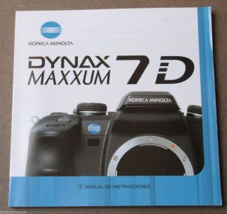 Minolta 7D Dynax Maxxum Digital Camera Instruction Manual Book English
