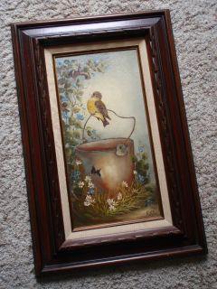Original Oil Painting Bird Water Bucket Ruth Robson