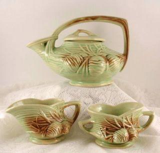 McCoy Pottery Pine Cone 4 PC Tea Set Teapot Creamer Sugar