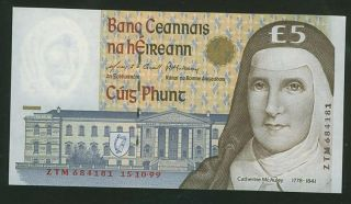 pounds UNC EIRE Ireland Rep of Mcauley 15 10 99 P75 Irish Look 3 of