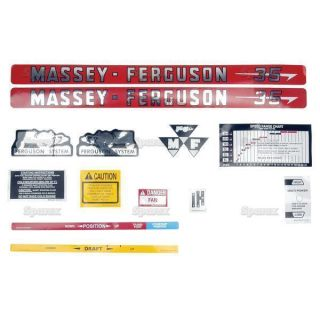 Massey Ferguson MF 35 MF35 Tractor Complete Decal Set