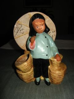 McCarty Brothers Vintage California Pottery Planter Chinese Girl w