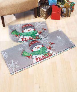 Piece Peace Holiday Christmas Snowman Cushion Mat Floor Runner Rug Set