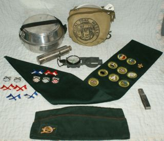 Boy Cub Scout Lot Patches Sash Hat Mess Kit Fork Original Merit Badges