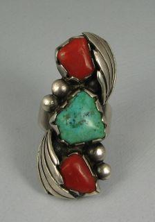 Vntg Zuni Dan Simplicio D Coral Turquoise Ring
