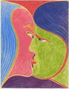 Zygmunt Mazur A Kiss Colored Pencils on Paper 1967