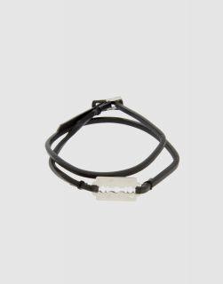 Alexander McQueen McQ Silver Metal Razor Black Leather Bracelet