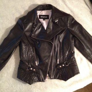 Guess Brand Womens Motorcycle Styled Leather Jacket Sz M