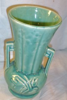 Real Marked McCoy Pottery 8 Green Leaf Pattern Vase