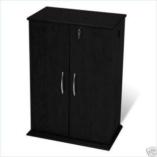 Black CD DVD Media Storage Cabinet Rack w Locking Door